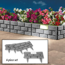 Set of 4 Attractive Stone Look Solar Powered Lighted Garden Border Edging