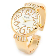 Gold Metal Crystal Band Large Face Women's Bangle Cuff Watch