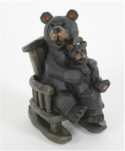 Whimsical Rocking Chair Black Bear and Cub Figurine Indoor Home Decor