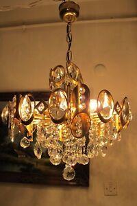 Antique Vintage French basket  style REAL Swarovski Crystal Chandelier Light
