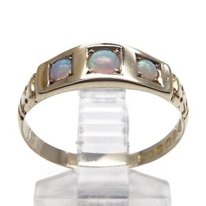 Victorian 1889 Opal Three Stone Ring - 15ct Yellow Gold - UK Size P 1/4