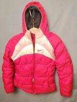 VTG Nike Womens XL Pink Puffer Parka Reversible Jacket w Hood & Fleece Liner