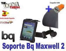 """SOPORTE REPOSACABEZAS PARA Tablet BQ Maxwell 2 7"""" Fnac 7 + CARGADOR USB"""