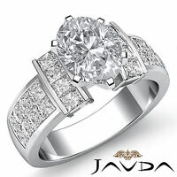 Radiant Oval Diamond Invisible Fine Engagement Ring GIA F VS2 Platinum 2.03 ct