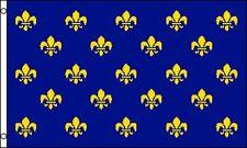 Fleur-de-lis Flag 3x5 Repeating Gold Blue Trefoil New Orleans Louisiana France