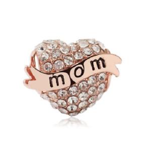 NEW Mum Mom Crystal Love Heart Rose Gold European Charm Bracelet Pendant Bead