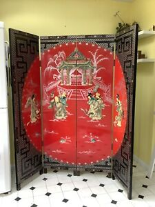 Vintage Full Size  Chinese Screen Room Divider & Two Matching Plaques!