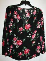 Old Navy S Black/Pink Floral Print Split V-neck Long Sleeve Blouse/Top Woven