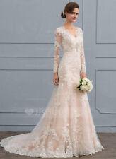 Trumpet / Mermaid V-neck Court Train Tulle Lace Ivory Wedding Dress