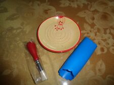 "Hand Painted Ceramic Cheese & Garlic Grater Plate w/Peeler & Brush ""REDUCED 50%"""