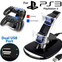 PS3 Dual Controller Charger LED Charging Dock Station Stand For Playstation 3