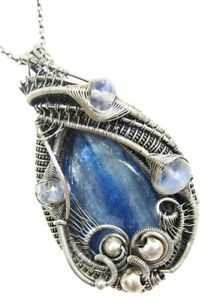 Blue Kyanite and Sterling Silver Necklace with Rainbow Moonstone