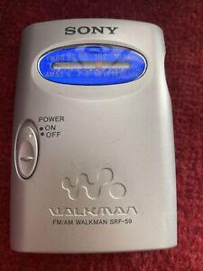 Sony Walkman SRF-59 Portable FM/AM Radio Belt Clip Vintage Silver