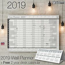 Planificador de pared de 2019 Organizador Calendario Pared Gráfico ✔ Año Negro + calendario gratis de escritorio
