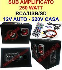 SUB WOOFER AMPLIFICATO ATTIVO 250W USB SD RCA-WOOFER 13 CM-12V/220V SUBWOOFER