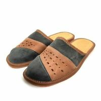 Mens Leather Slippers Mules Brown & Gray Size 6 7 8 9 10 11 12Flip Flop Sandals