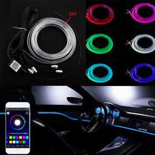 RGB LED Car Interior Decor Atmosphere Wire Moulding Strip Light Lamp Line 6M