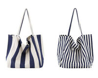 Women Large Canvas Shopping Bag Fashion Striped Cloth Reusable Tote Bag