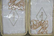 NEW Frette 2 SHAMS Granada Ricamo GOLD Embroidery White Desert Beige KING