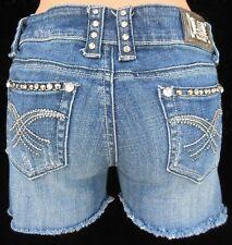 LA IDOL Medium Wash Low-Rise Crystals Studs Denim Cutoff Jeans Shorts Size 3