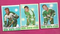 1970-71 OPC NORTH STARS GRANT + GOLDSWORTHY + WILLIAMS   CARD (INV# C4283)