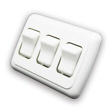 Triple 3 Gang On-Off 12 volt White Light Switch - RV Camper Trailer Marine Boat