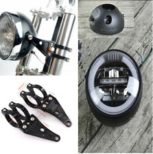 Motorcycle Retro High Low Beam Headlight Cafe Racer With 41mm CNC Fork Holder