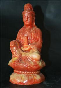 chinese shoushan stone carved tibetan guanyin kwan yin buddha statue sculpture