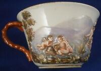 Antique 19thC Meissen Porcelain Capodimonte Design Scenic Cup Porzellan Tasse