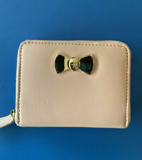 Harrods Compact Organiser Purse - Soft Pink Mini Wallet With Gold Bow