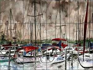 Ceramic Tile Mural Kitchen Backsplash McCrea Sailboat Nautical Art DMA079
