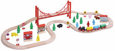 56pcs Wooden Railway Train Set 50072 - Brio Bigjigs Compatible