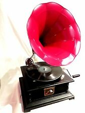 ANTIQUE GRAMOPHONE PHONOGRAPH RED COLOR STEEL HORN HIS  MASTER'S VOICE LOGO