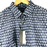 Perry Ellis Essentials Mens L/S Blue Multi Print Shirt Cotton Stretch XL $79.50