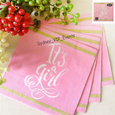 ITS A GIRL BABY SHOWER LUNCH NAPKINS PINK GOLD WHITE 16PK PARTY LARGE SERVIETTES