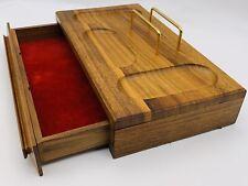Vintage Wooden Desktop Organizer With Drawer 11 12 X 7 Mens Valet Box