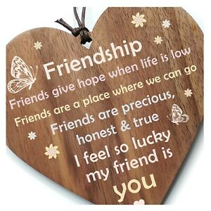 Friends Give Hope When Life Is Low - Inspirational Friendship Gift Walnut Heart