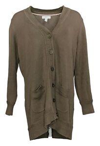 Isaac Mizrahi Live! Women's Sweater Sz L Button Front Brown A390248