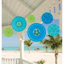 Blue Hibiscus Tropical Hawaiian Beach Luau Theme Party Paper Fan Decorations