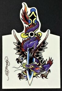 Dagger Dragon STICKER Decal Artist Ed Hardy Kiss Cut EH2