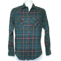 Red Camel Mens Western Pearl Snap Shirt Sz S Green Plaid Long Sleeve Button Down