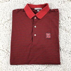 Peter Millar NC STATE WOLFPACK Medium Polo Shirt Red Black Striped 100% Cotton