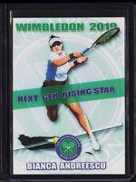 BIANCA ANDREESCU 2019 1/100 Wimbledon ROOKIE Tennis Card RC Canada * RISING STAR
