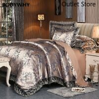 4 Pieces Luxury Satin Cotton Lace Bedding Sets Bedding Cover Bed Sheet Set