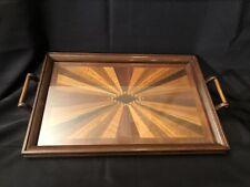 Vintage Wooden Inlay Serving Platter - Sunburst Design