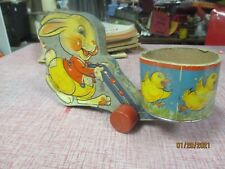 Vintage Fisher Price Easter Bunny Rabbit Pull Toy Candy Container # 12