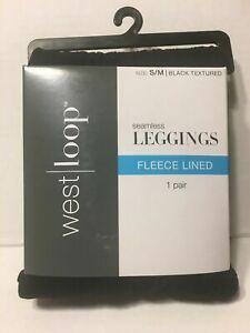 West Loop Ladies Fleece Lined Seamless Legging Black Textured Size S/M 4 5 6 7 8