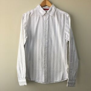 Mossimo Long Sleeve Button Front Shirt Slim Fit Size S Small White Work Casual