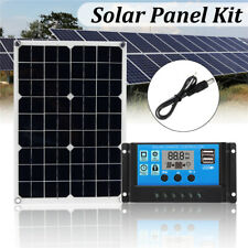 20W DC5/12V USB Solar Panel+10A Solar Controller Charger Phone For RV Car Boat