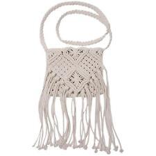 Women Cross Body Shoulder Bag Crochet Knit Handbag Bohemian Beach Tassel Bags B